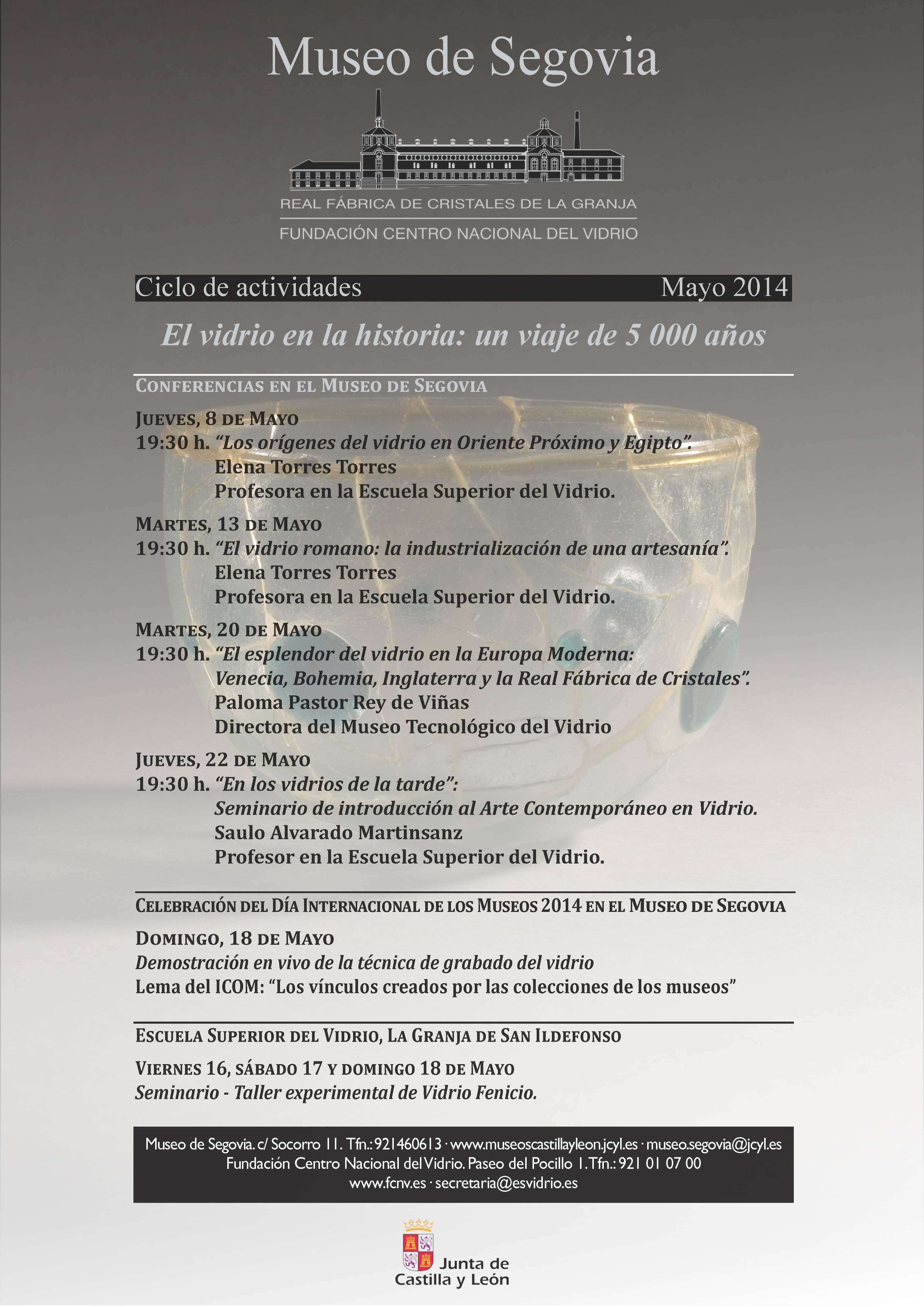 2014-05 Museo de Segovia CARTEL Ciclo de Actividades El vidrio en la Historia