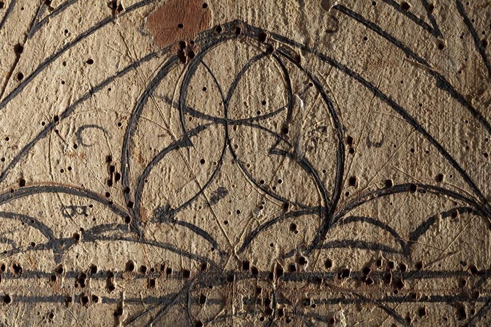 Ima?genes- Detalles de las dos tablas de vidriero en el Museu d'Art de Girona. CRBMC Centre de Restauracio? de Be?ns Mobles de Catalunya ® Carles Aymerich, 2013 - 2